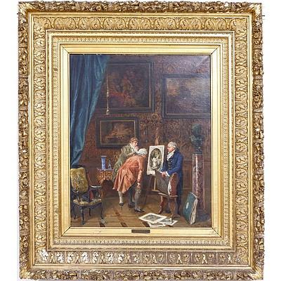 Vincent Stoltenberg Lerche (Norwegian 1837-1892) 'The Experts' Oil on Canvas