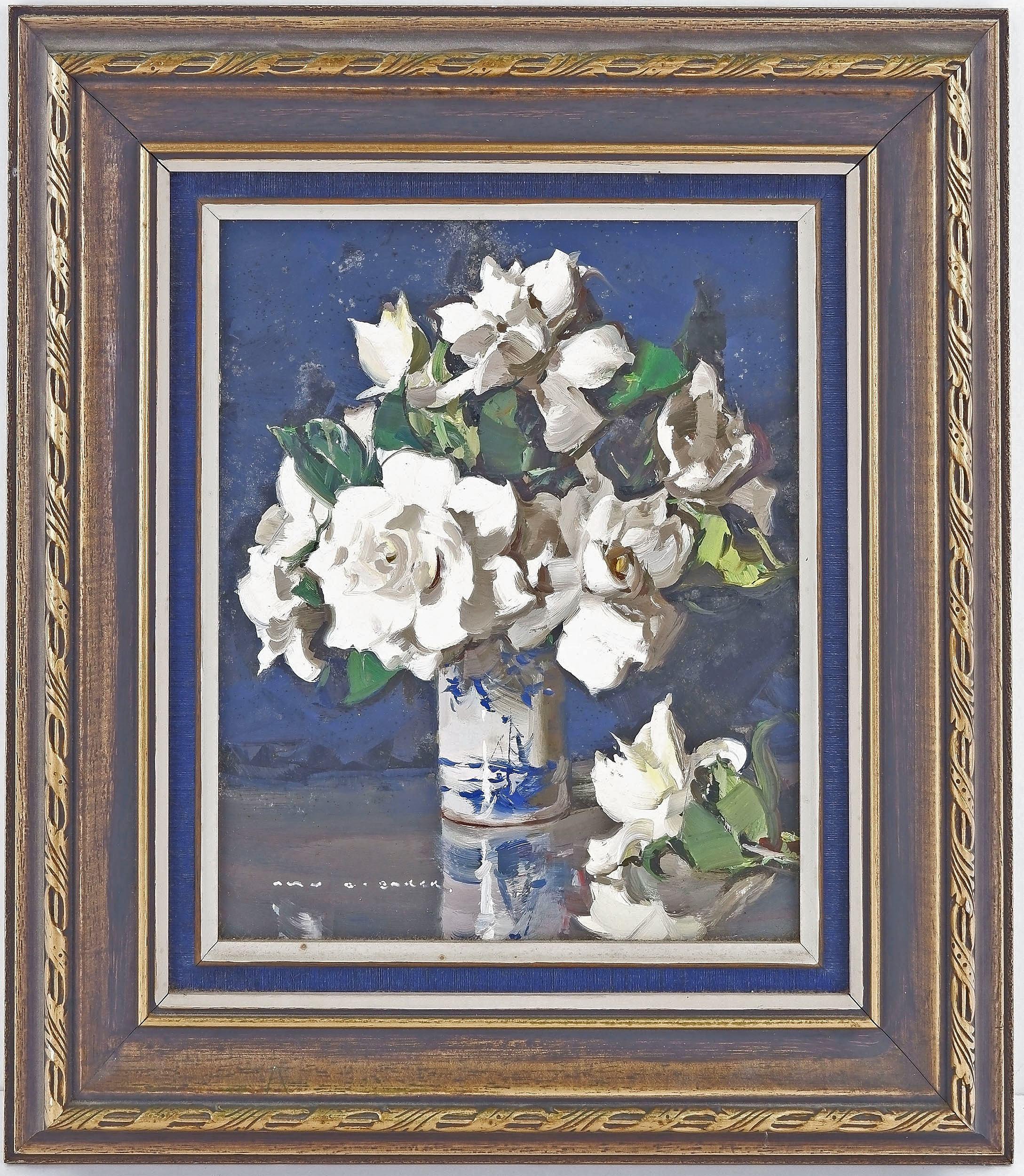 'Alan Baker (1914-1987) White Camellias, Oil on Board'