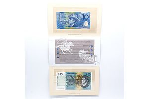 Australian Ten Dollar Note Set - Last Paper Note and First Polymer Note