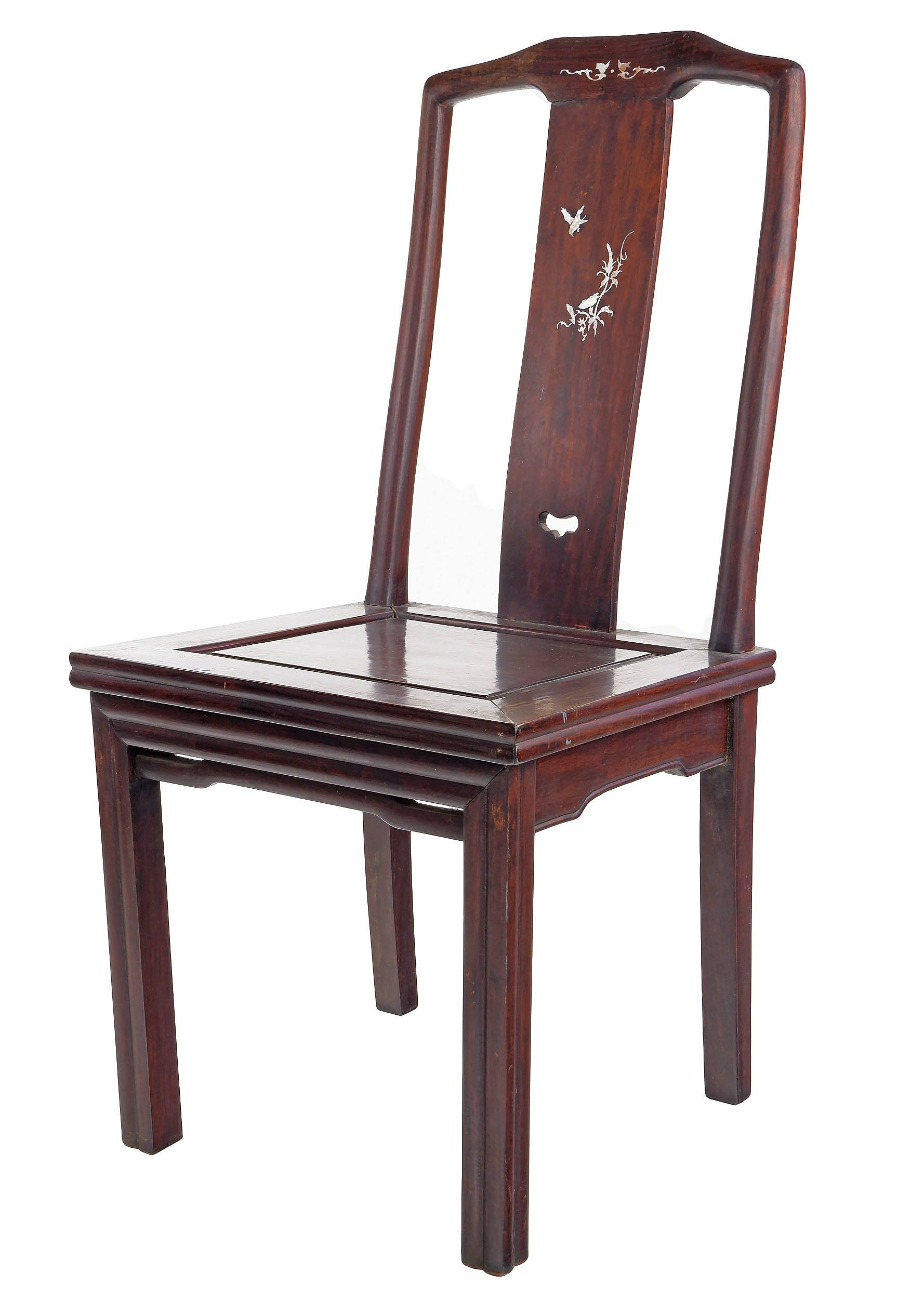 'Antique Chinese Rosewood Chair with Pearl Shell Inlay, Early 20th Century'
