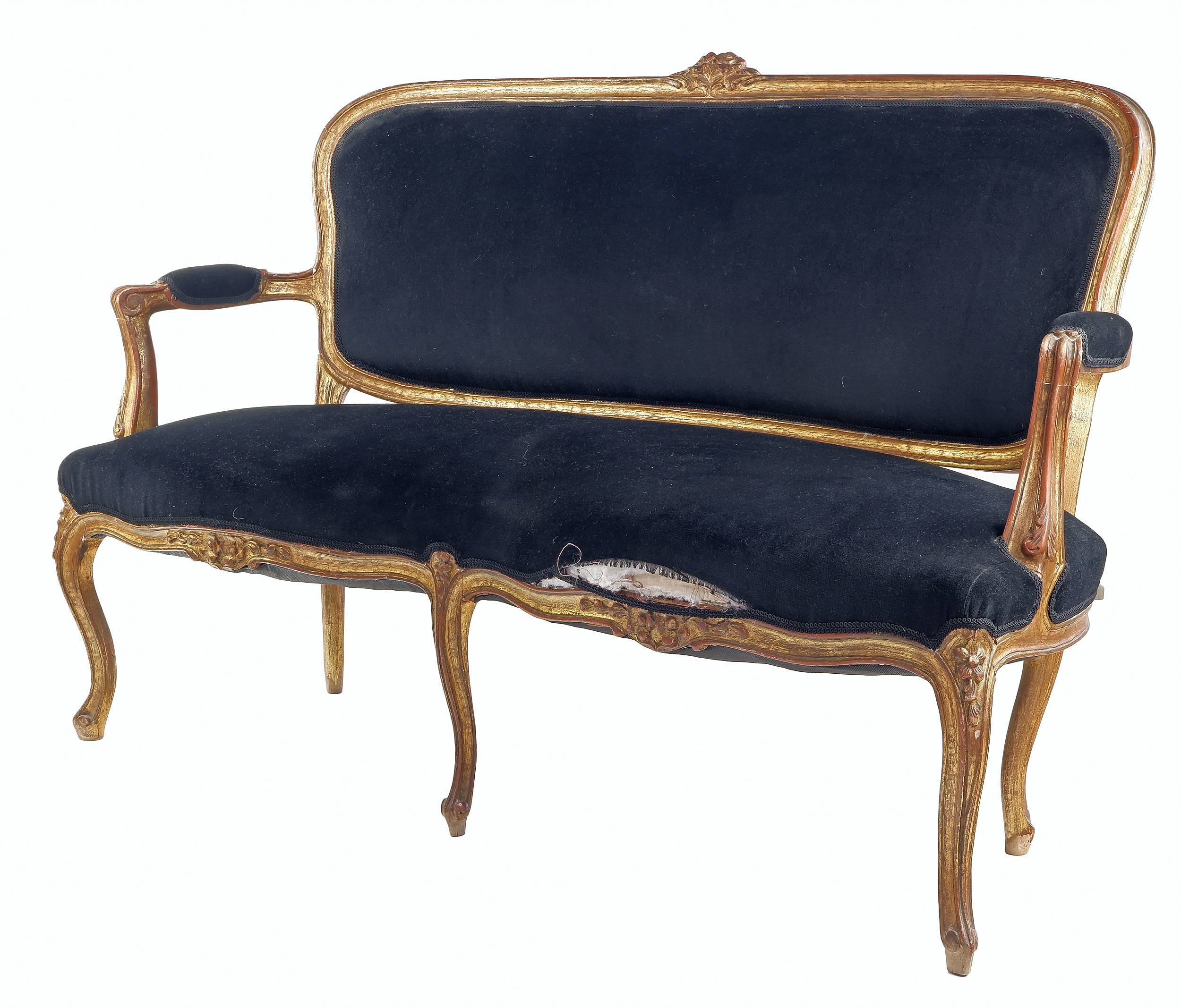'Vintage Louis XV Style Carved Giltwood Settee'