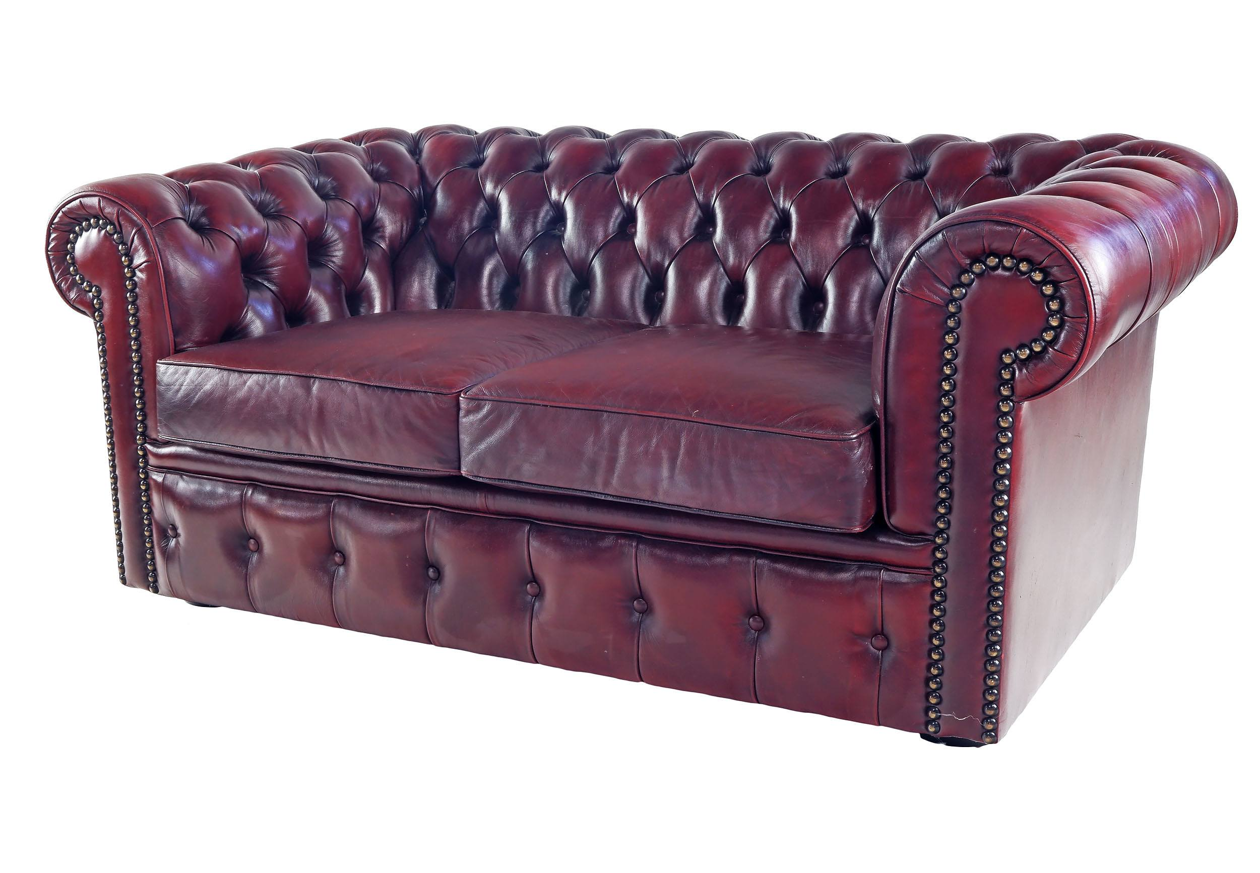 'Moran Chesterfield Deep Buttoned Burgundy Leather Two Seater Chesterfield Sofa with Brass Studs'