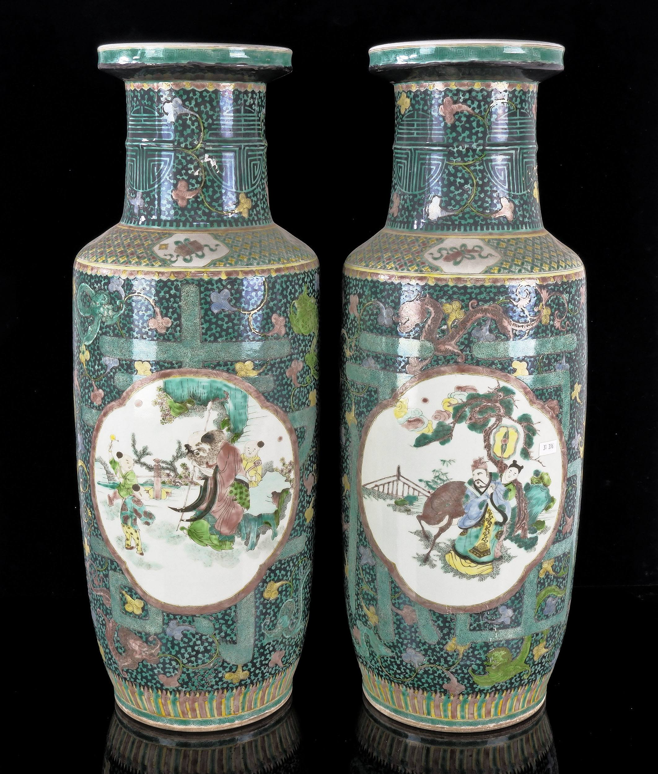 'Very Large Pair of Chinese Famille Verte Vases, Late Qing Dynasty'
