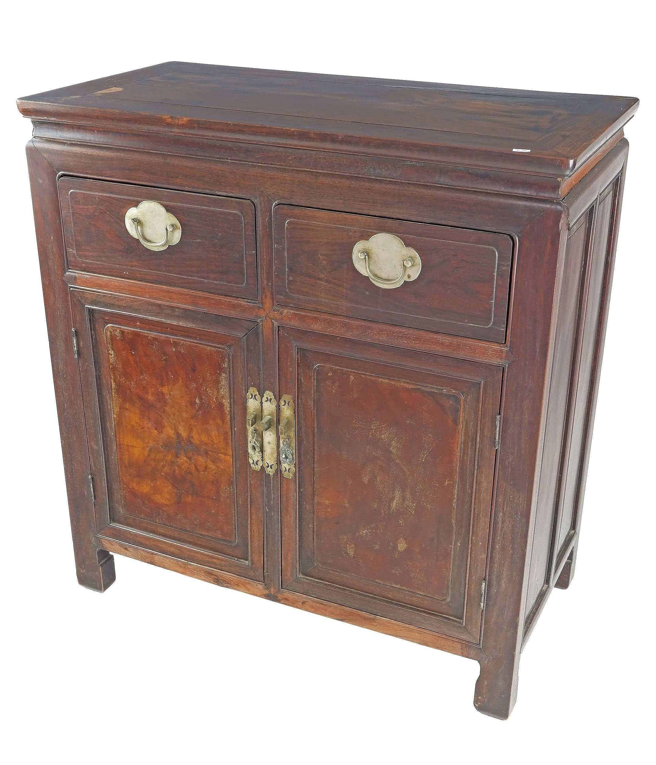 'Antique Chinese Hongmu Rosewood and Burlwood Panelled Cabinet with Original Baitong Hardware, Late Qing Dynasty'