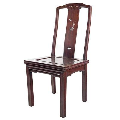 Antique Chinese Rosewood Chair with Pearl Shell Inlay, Early 20th Century