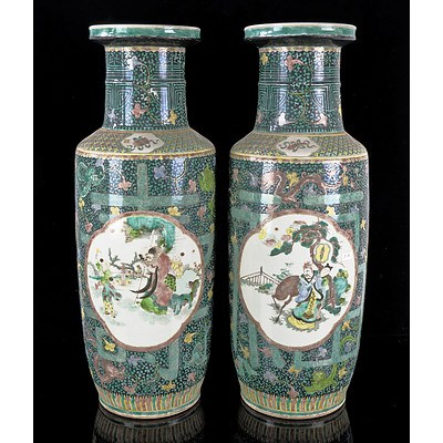 Very Large Pair of Chinese Famille Verte Vases, Late Qing Dynasty or Republican Period