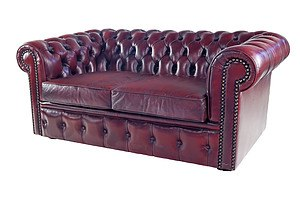 Moran Chesterfield Deep Buttoned Burgundy Leather Two Seater Chesterfield Sofa with Brass Studs