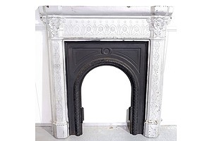 English Late Victorian Aesthetic Movement Cast Iron Fire Surround with Insert Panel Circa 1880