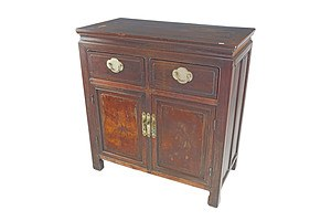Antique Chinese Hongmu Rosewood and Burlwood Panelled Cabinet with Original Baitong Hardware, Late Qing Dynasty