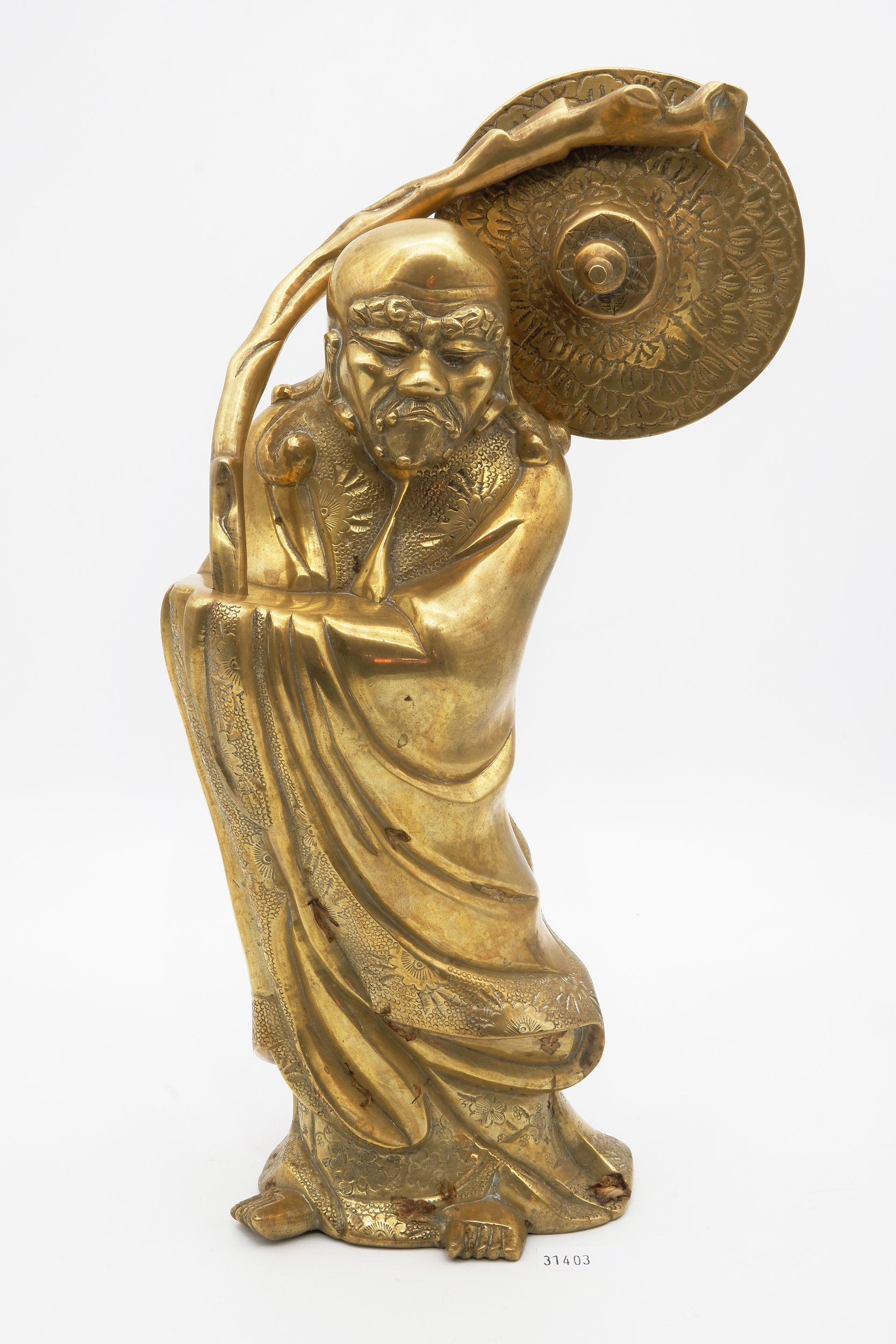 'Chinese Cast and Engraved Polished Bronze/Brass Figure of a Sage, Circa 1900'