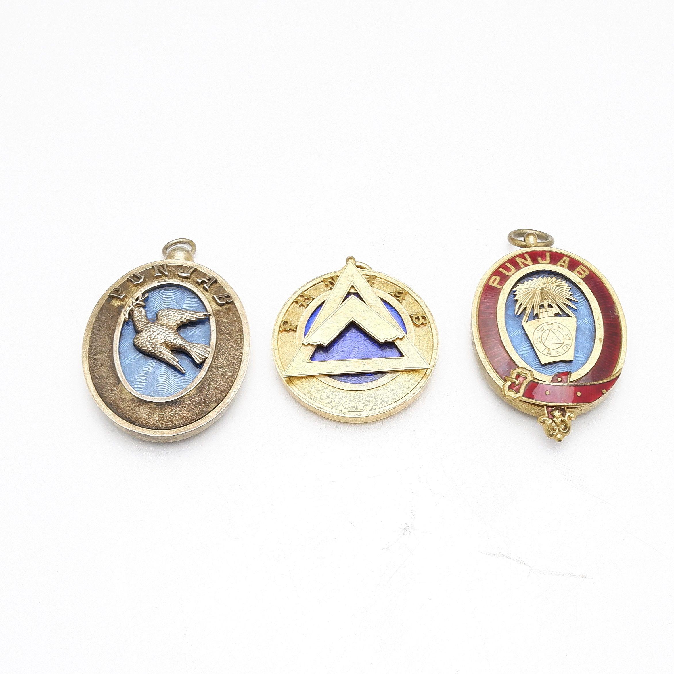 'Three Gilt and Enamel Masonic Jewels Including One Hallmaked Sterling, Punjab India'