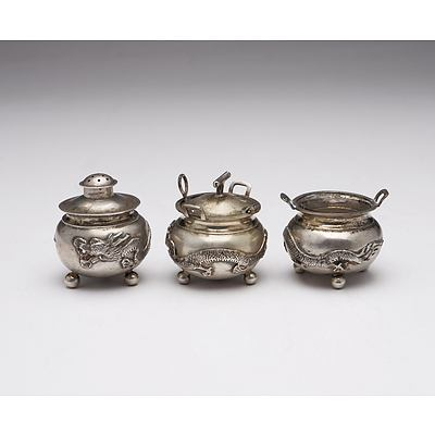 Chinese Export Silver Three Piece Condiment Set with Four Claw Dragons