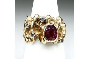 9ct Yellow Gold Abstract Dress Ring with Natural Ruby and Diamonds, 11.25g