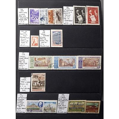 Sheet of USSR Stamps, Including 1954 USSR