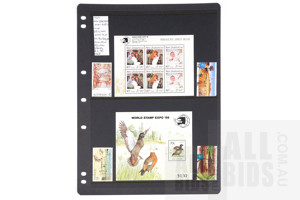 1989 New Zealand Mini Sheets and 4 Australian High Value Decimal Stamps