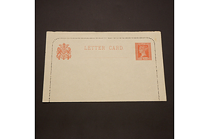 1890 Victoria State Queen Victoria 1d Brownish-Red Letter Card