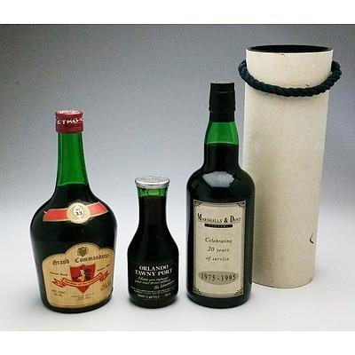 Marshal & Dent Lawyers Commemorative Liqueur muscat, Grand Commandaria Dessert Wine No 33 and a 300ml Orlando Tawny Port (3)