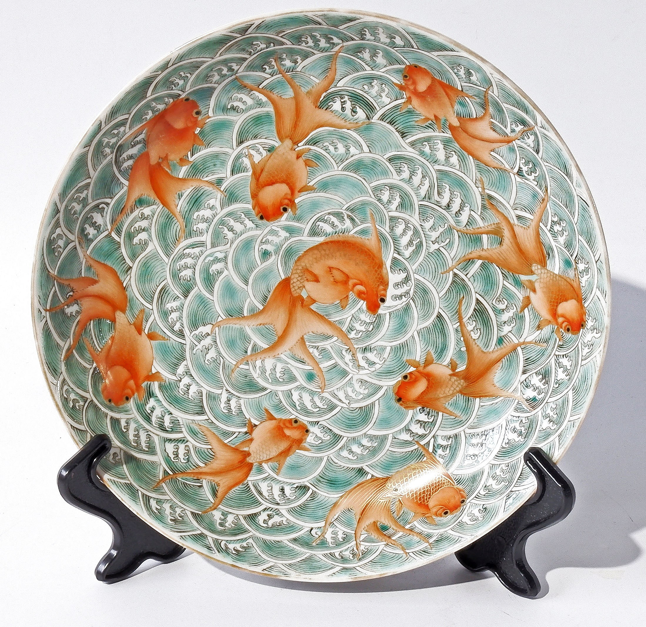 'Chinese Famille Rose and Grisaille Goldfish and Shrimp Dish, Turquoise Glazed Base with Jiaqing Seal Mark, Qing Dynasty'