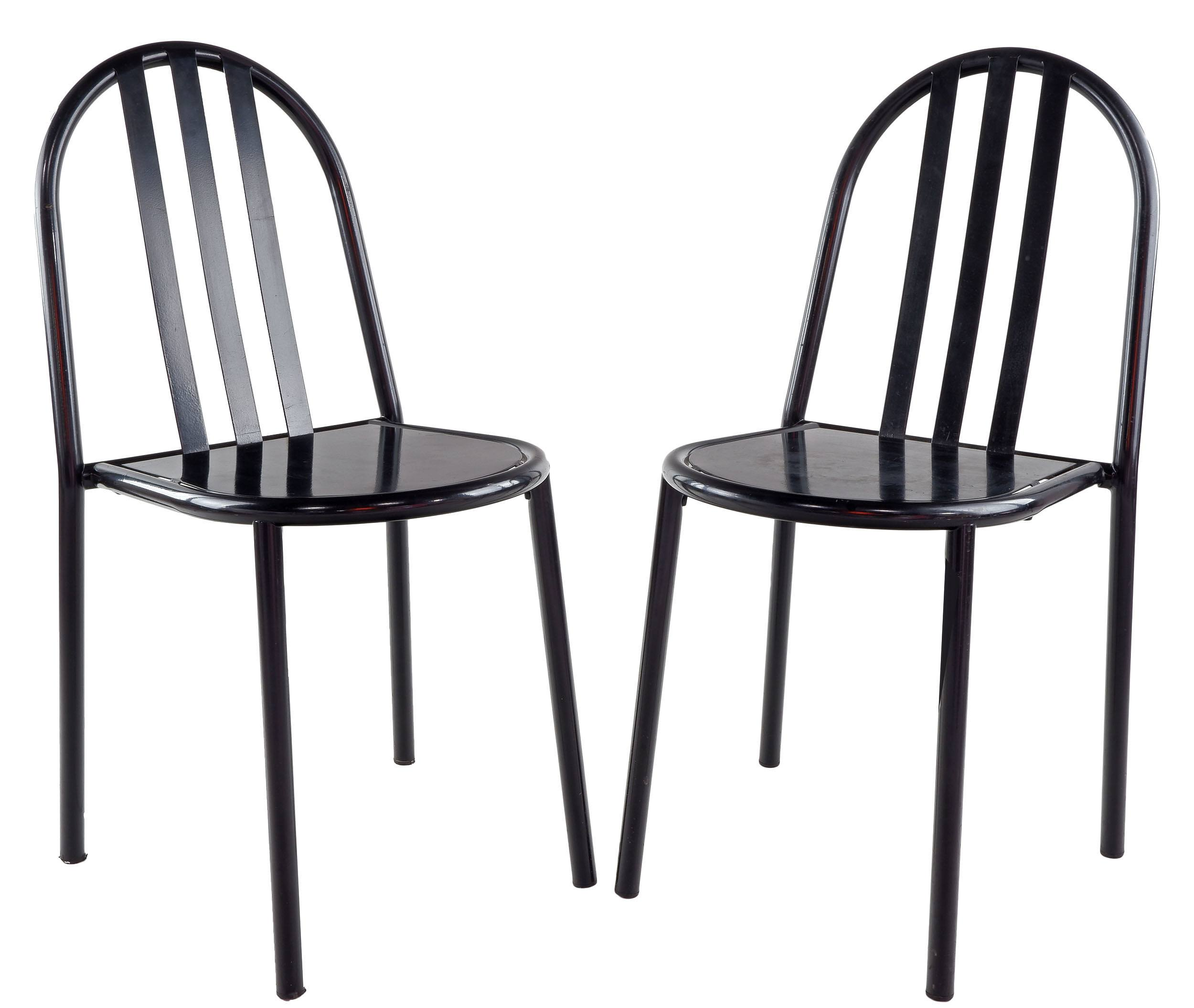 'Robert Mallet-Stevens (French 1886-1945) Designed Pair of Steel Painted Side Chairs'