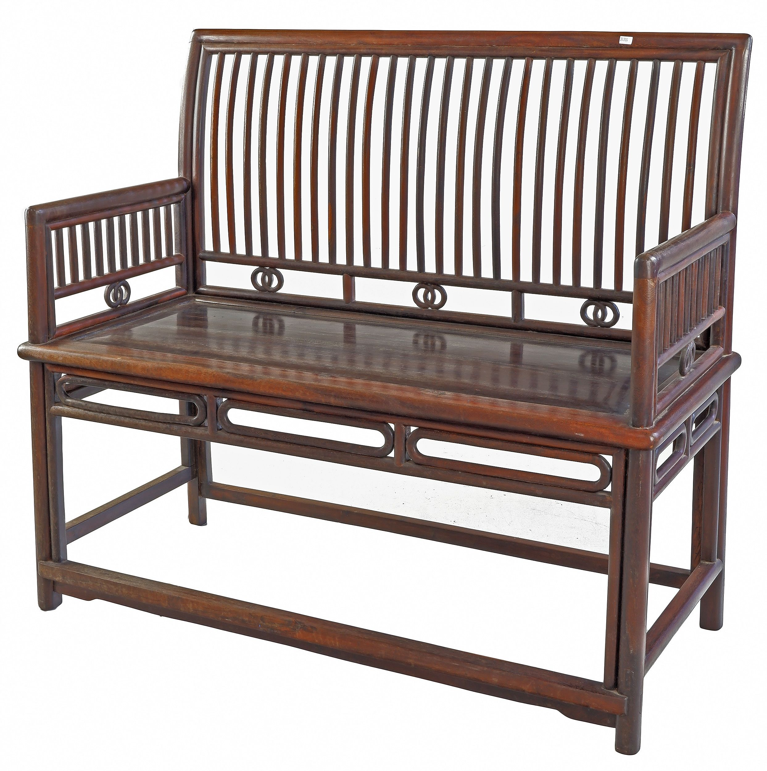 'Chinese Hardwood Comb Back Rose (Meigui) Bench, Late Qing or Republic Period'