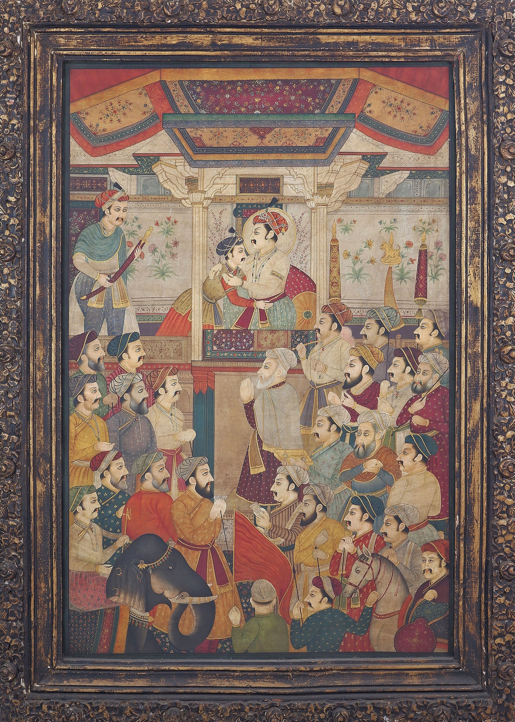 'Massive Indian Historical Painting, Mughal Court Scene with Shah Jahan, Oil on Canvas, 20th Century'