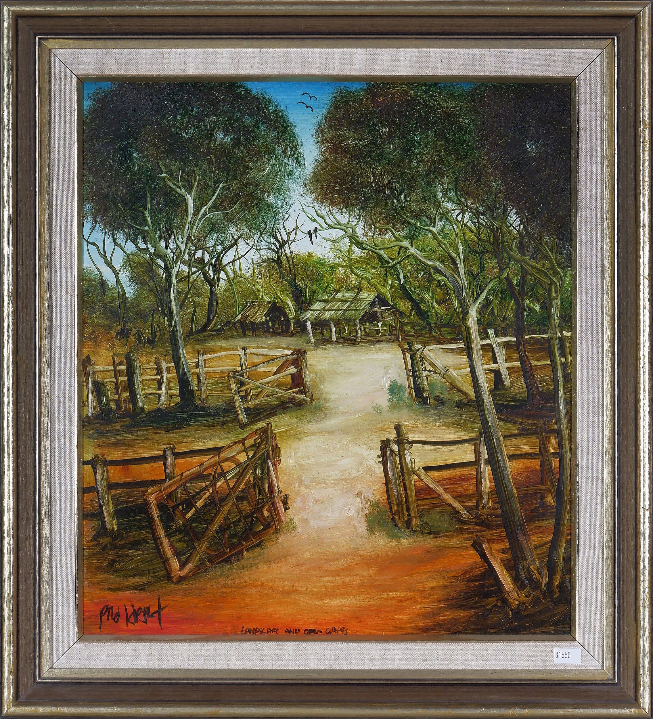 'Pro Hart (1928-2006), Landscape and Open Gates, Oil on Board'