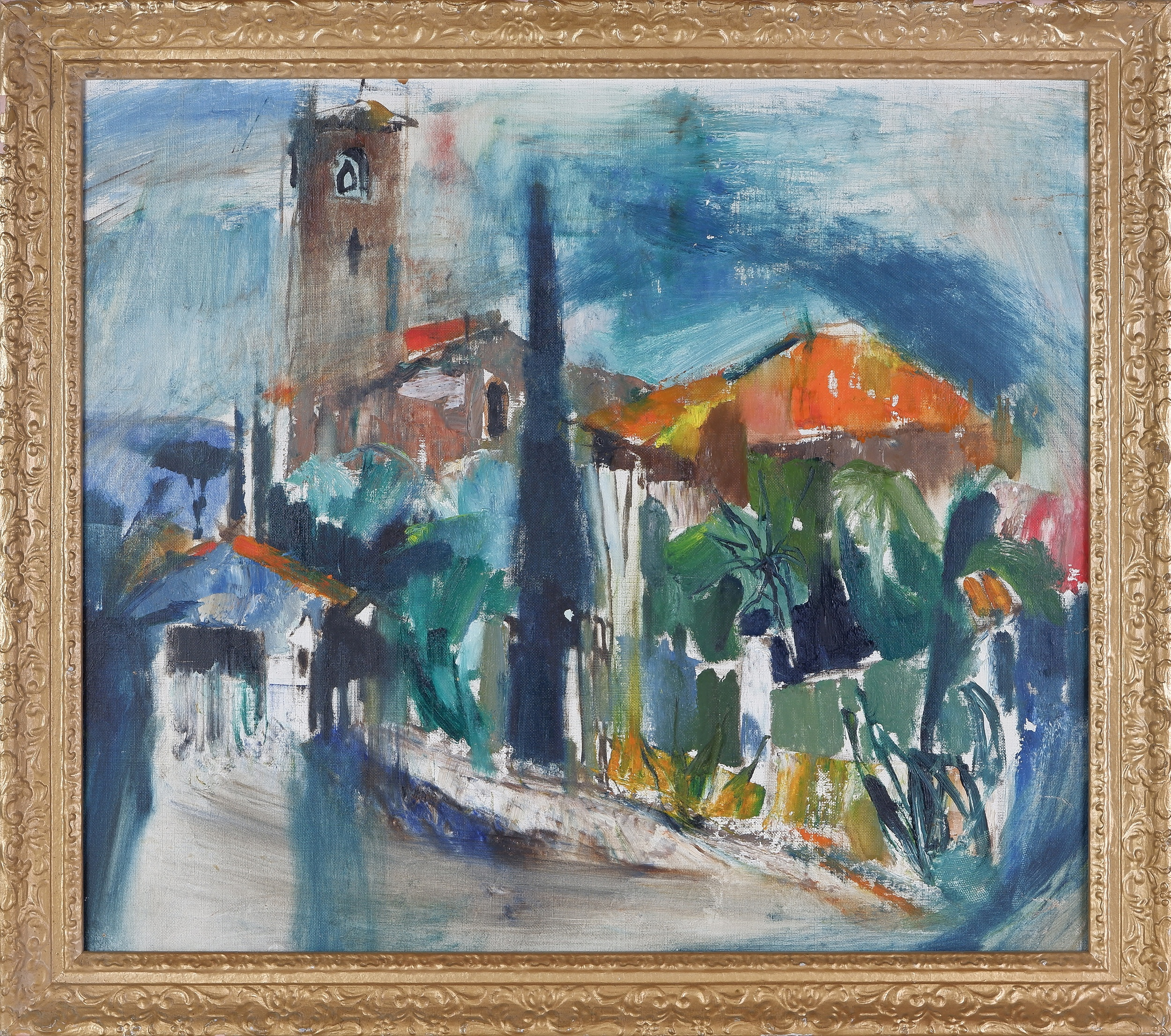 'Attributed to Judy Cassab (1920-2015), Untitled (Street Scene with Bell Tower), Oil on Canvas on Board'