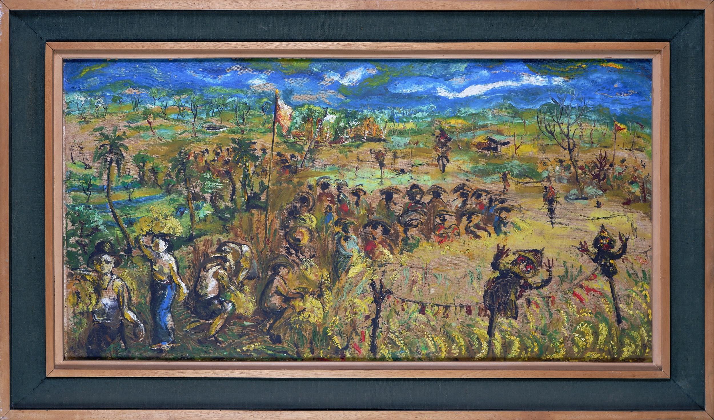 'Balinese School, Untitled (Island Farmers) 1963, Oil on Canvas on Board'