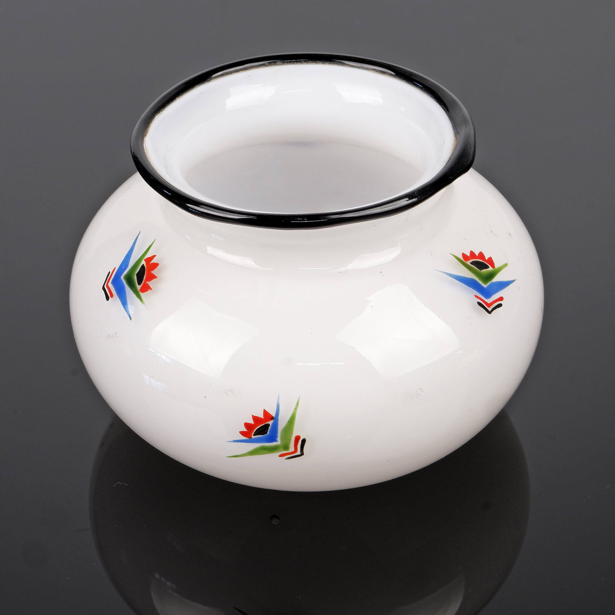 'Austrian Loetz Hand Enamelled Tango Glass Squat Vase or Bowl, Early 20th Century'