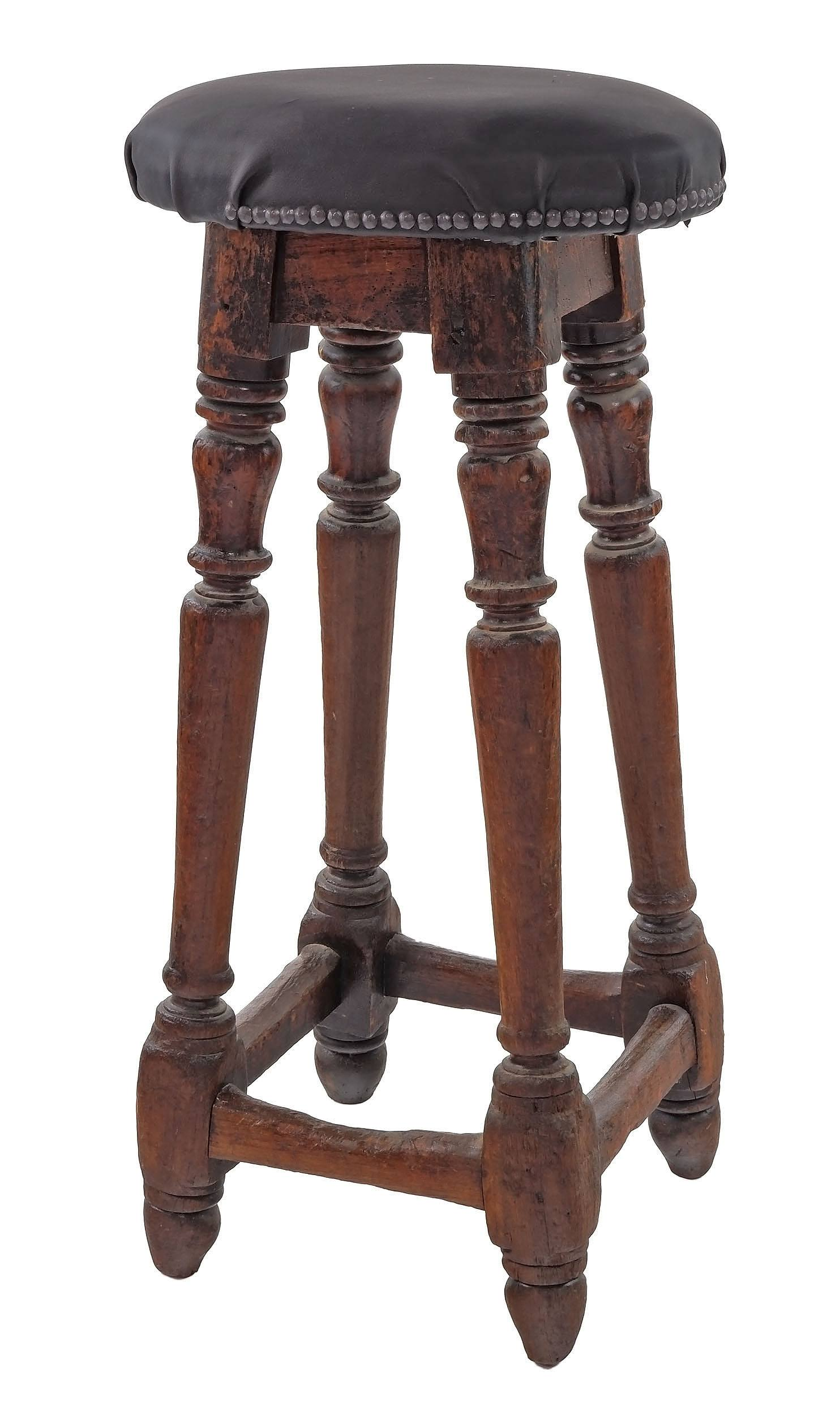 'Rare Australian Colonial Cedar Stool with Later Leather Upholstery'