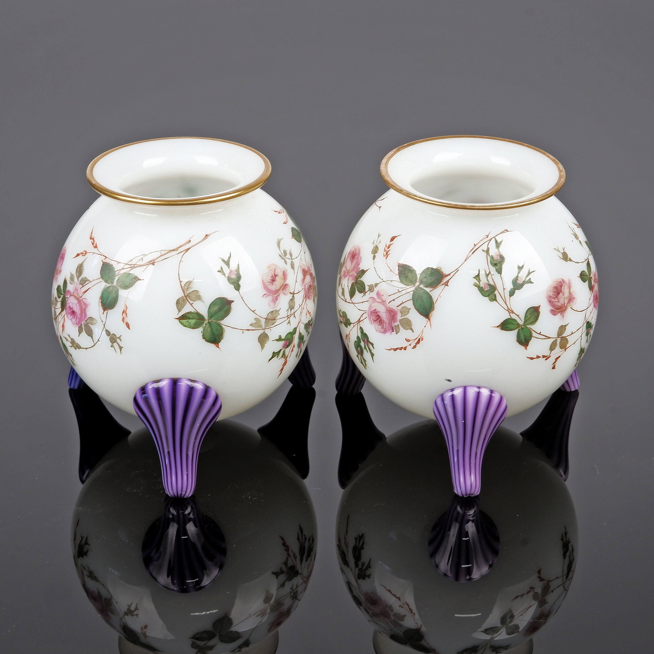 'Pair of Superbly Executed Late Victorian Glass Bud Vases on Tripod Feet'