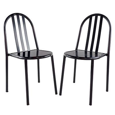 Robert Mallet-Stevens (French 1886-1945) Designed Pair of Steel Painted Side Chairs