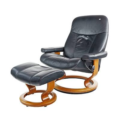 Norwegian Ekornes Stressless Leather Recliner Armchair and Ottoman