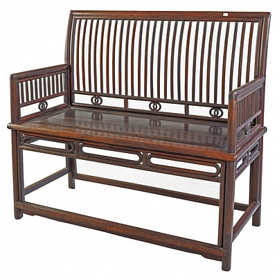 Chinese Hardwood/Rosewood (Probably Jichimu) Comb Back 'Rose' (Meigui) Bench, Late Qing or Republic Period