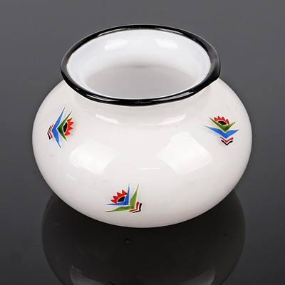 Austrian Loetz Hand Enamelled 'Tango' Glass Squat Vase or Bowl, Early 20th Century