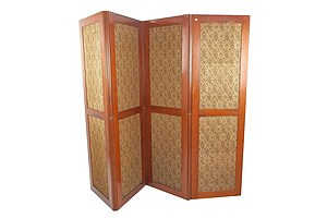 Antique Mahogany Fourfold Screen Circa 1900