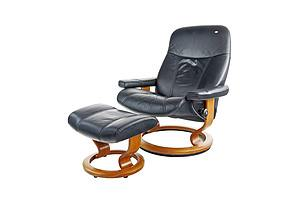 Norwegian Ekornes Stressless Leather Recliner Armchair and Ottoman