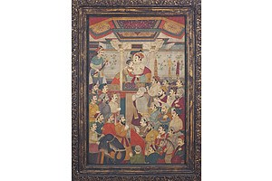 Massive Indian Historical Painting, Mughal Court Scene with Shah Jahan, Oil on Canvas, 20th Century