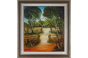 Pro Hart (1928-2006), Landscape and Open Gates, Oil on Board