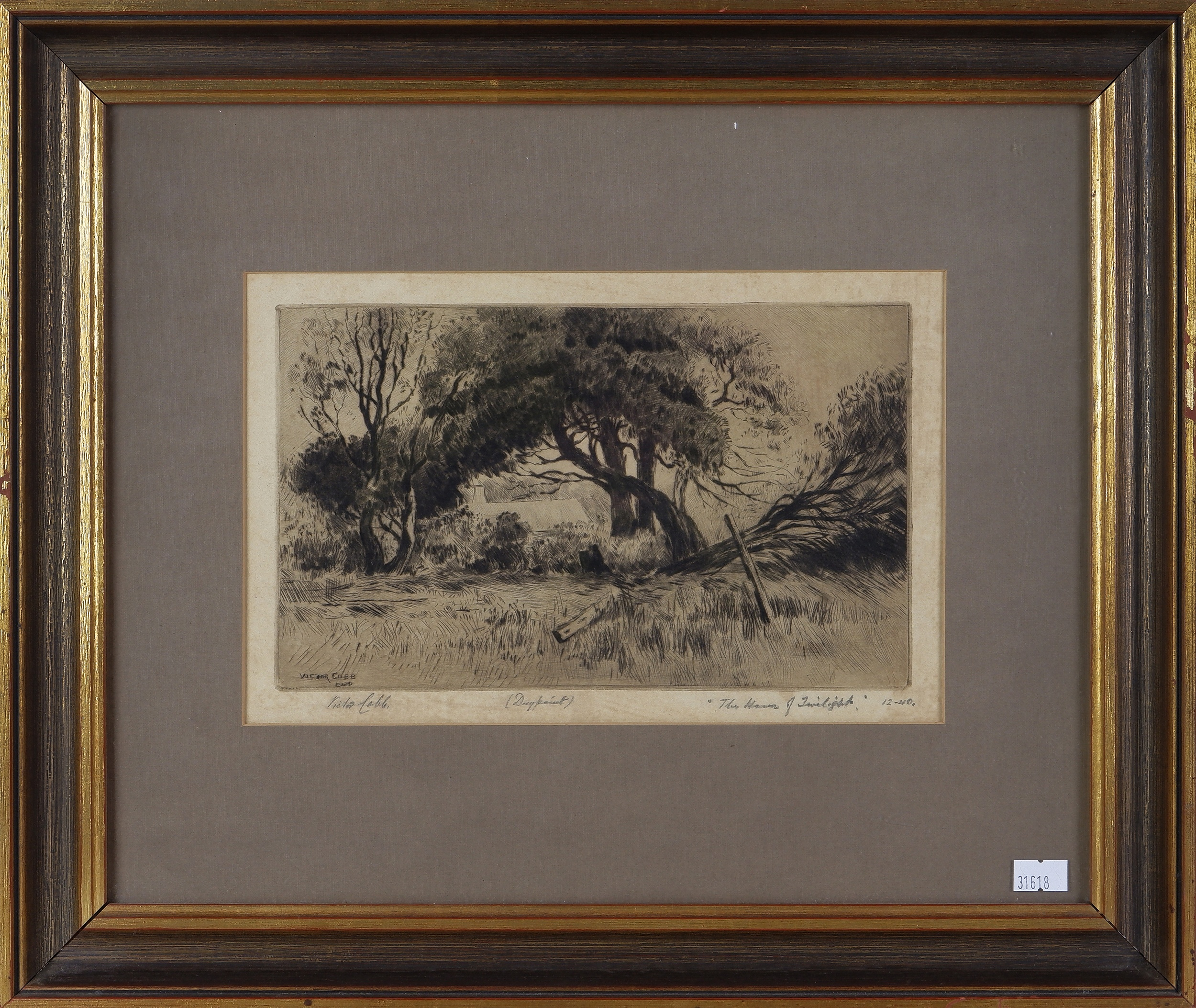 'Victor Cobb (1876-1945), The Hours of Twilight 1920, Drypoint'
