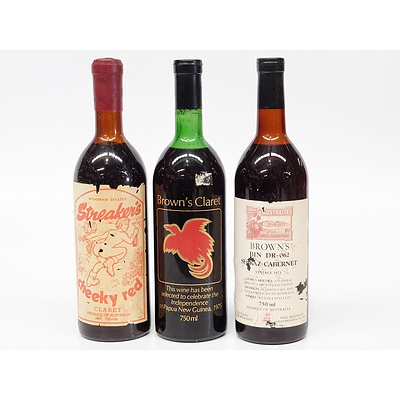 Brown's Claret 1972, Wyndham Estate's Streaker's Cheeky Red Claret and Brown's Shiraz-Cabernet Vintage 1971
