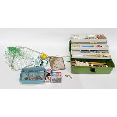 Quantity of Fishing Equipment Including Tackle Box with Sinkers, Flys and More