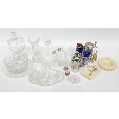 Quantity of Crystal, Cut Glass and Souvenir Wear, Including Vases, Bon Bon Dish and More