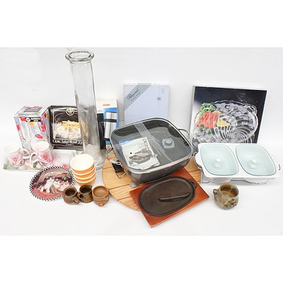 Quantity of Kitchenwares Including Breville Electric Frypan, Thermos, Warming Dish and More