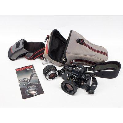 Pentax LX Camera with Skylight Lens, ApK Macro Teleplus Lens and Soft Case