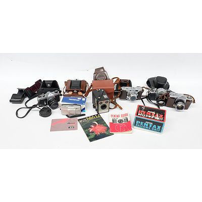 Quantity of Seven Cameras Including Pentax Asahi Spotmatic, Kowaflex, Kodak Box Brownie, Nettar, All in Cases and More