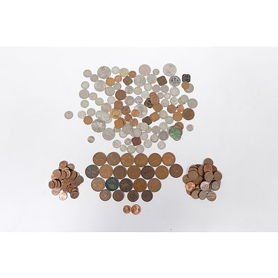Assorted Coins including: Australian Pennies, Half Pennies, One and Two Cent coins, and various other currencies