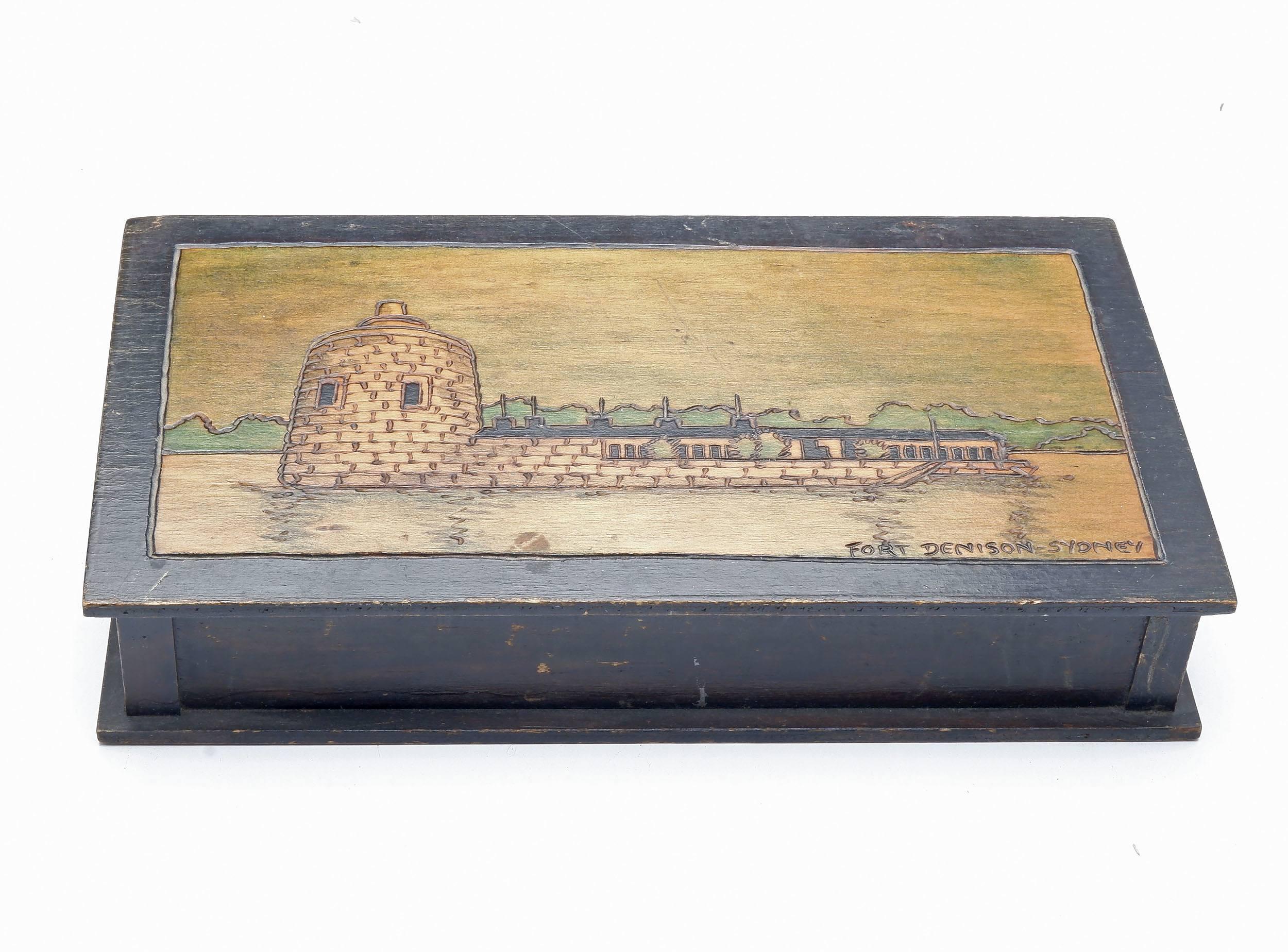 'Pokerwork Box with Decoration of Fort Denison, Sydney'