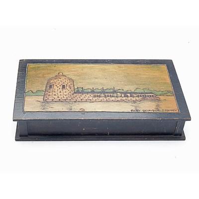 Pokerwork Box with Decoration of Fort Denison, Sydney