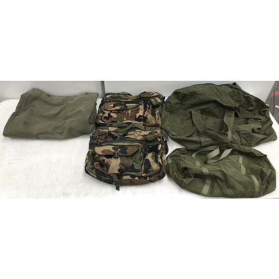 Canvas and Military Style Duffel Bags -Lot Of Four